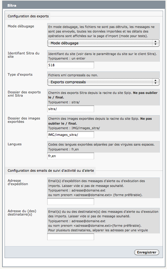 Exports sitra spip contrib for Copie ecran