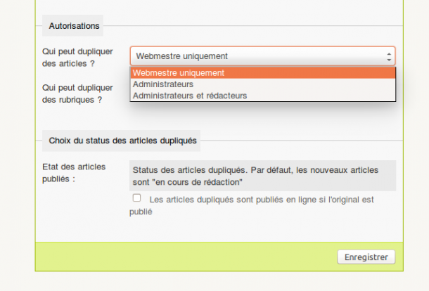 Authorisations sur le plugin SPIP Duplicator