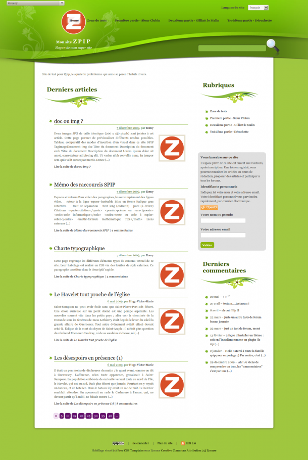 Page d'accueil ZPIP avec Greeny